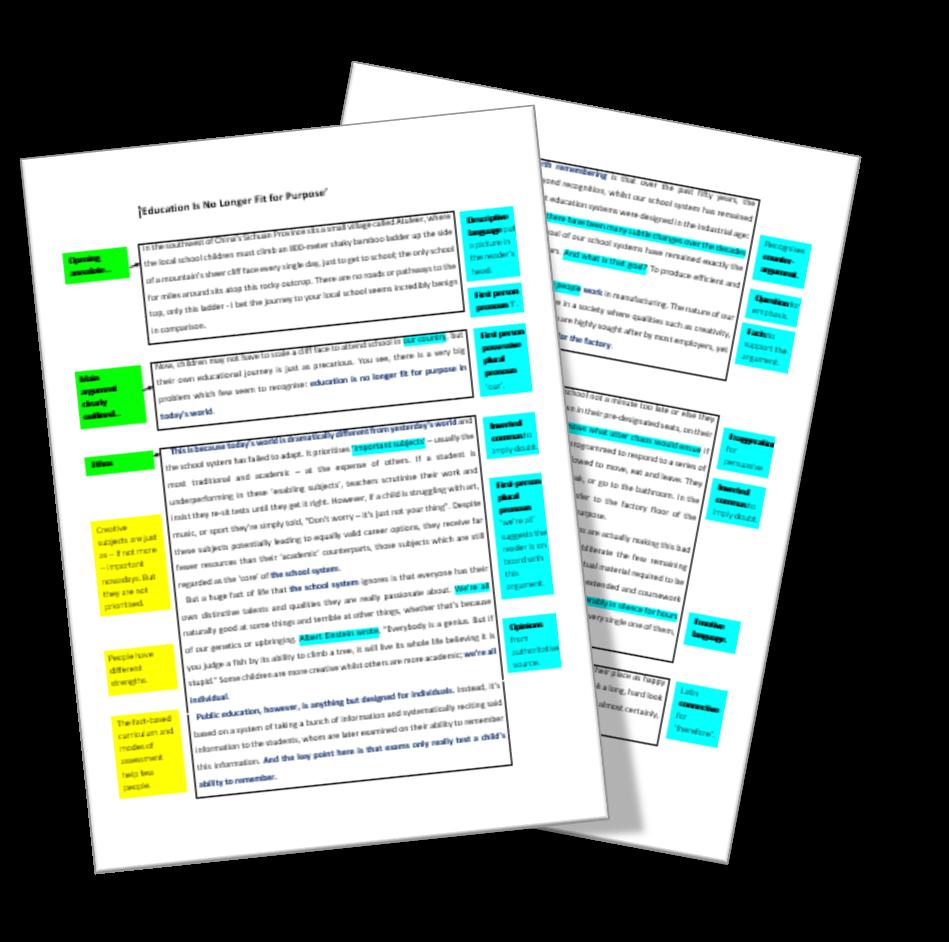 Annotated persuasive writing